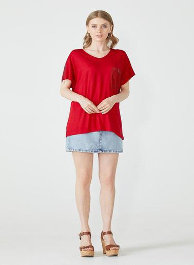Sementa Kadın Dijital Baskılı Bluz  Kırmızı
